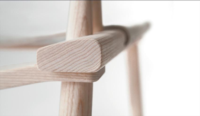 Fauteuil bois Jasper Morrison - Nikari. Fauteuil bois haut de gamme. Minimaliste et élégant. Détail